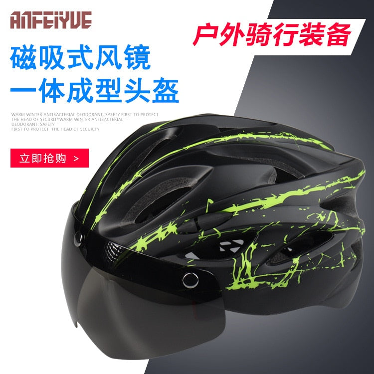 Bicycle Riding Magnetic Sucker-with Goggles Helmet Mountain Bike Integrally Molded Safety Helmet Outdoor Riding Equipment