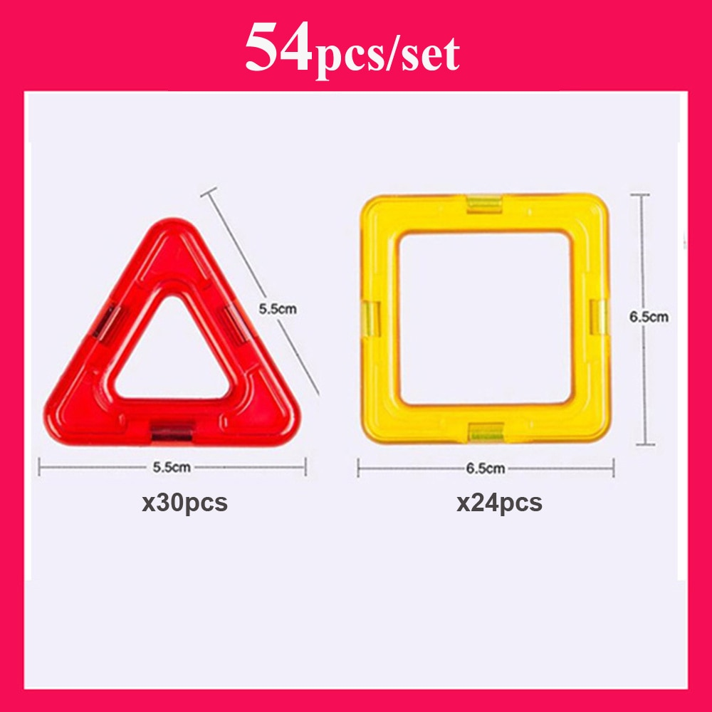 Big Size 54pcs Magnetic Designer Construction Set Triangle Square Bricks Magnetic Blocks Educational Toys for Children Gift