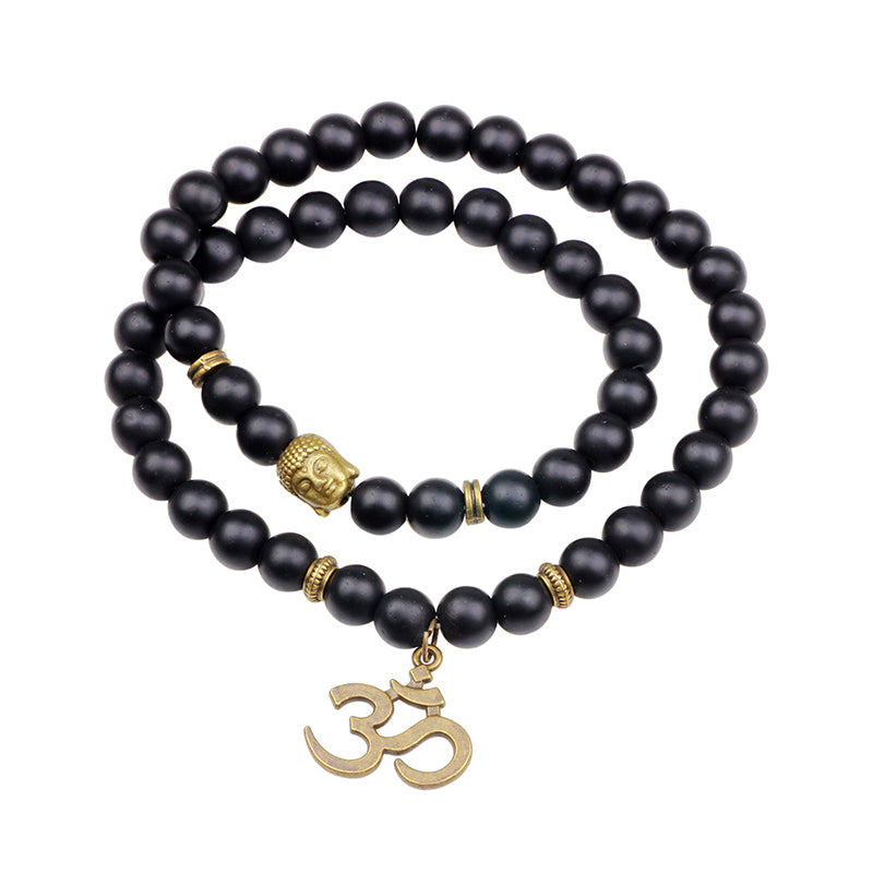 Black Matte Buddha Lucky Bracelet Irregular Pattern Pendant Necklace Bangle for Women