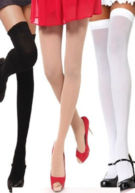 Black,Skin&White Stockings(Pk Of 3)