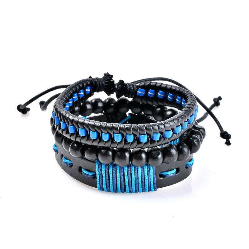 Blue Punk Woven Leather Chain Multilayer Beaded Bracelet Wholesale for Women Men