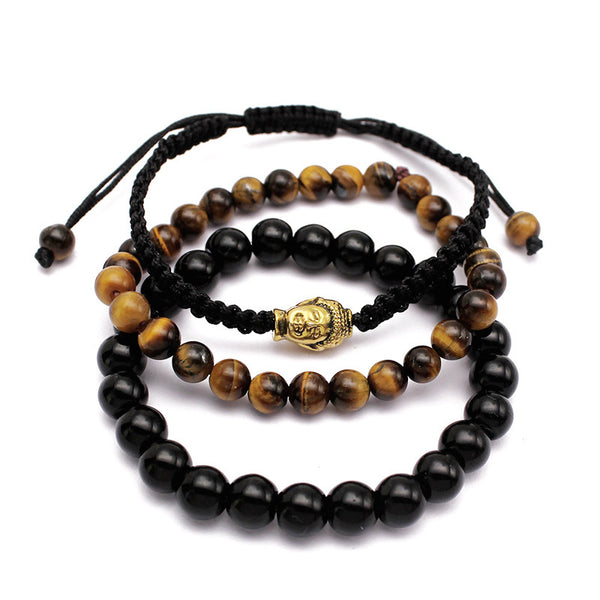 Buddha Lucky Agate Bracelet Adjustable Tiger Eye Stone Chain Bangle for Men Women