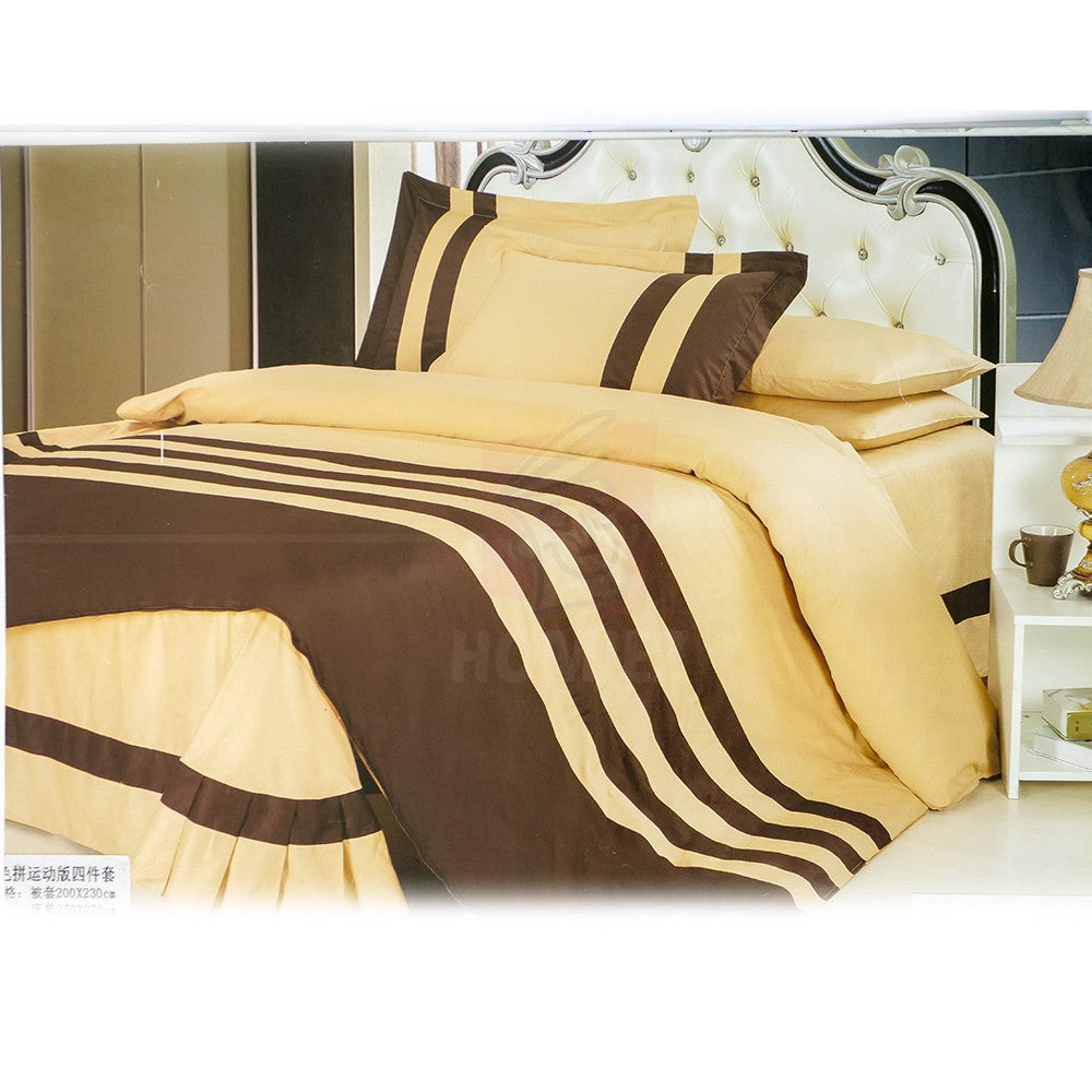Yellow Brown Striped 4-Piece Cotton Set Without Quilt