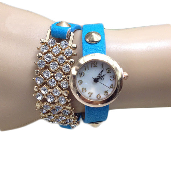 Casual Crystal Rivets Bracelet PU Leather Band Wrist Watch