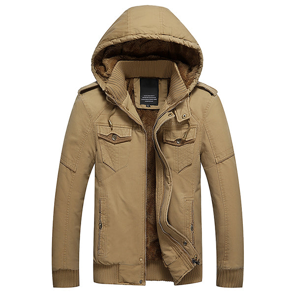 Casual Loose Cashmere Large Size Jacket Hooded Cotton Water Wash Coat For Men