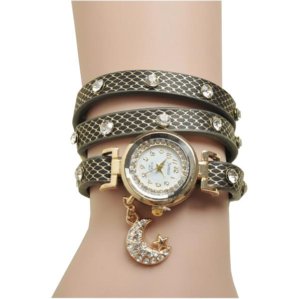 Casual Rhinestone Moon Pendant Leather Band Bracelet Watch