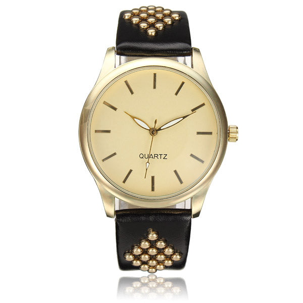 Casual Rhombus Pattern PU Leather Band Unisex Analog Watch