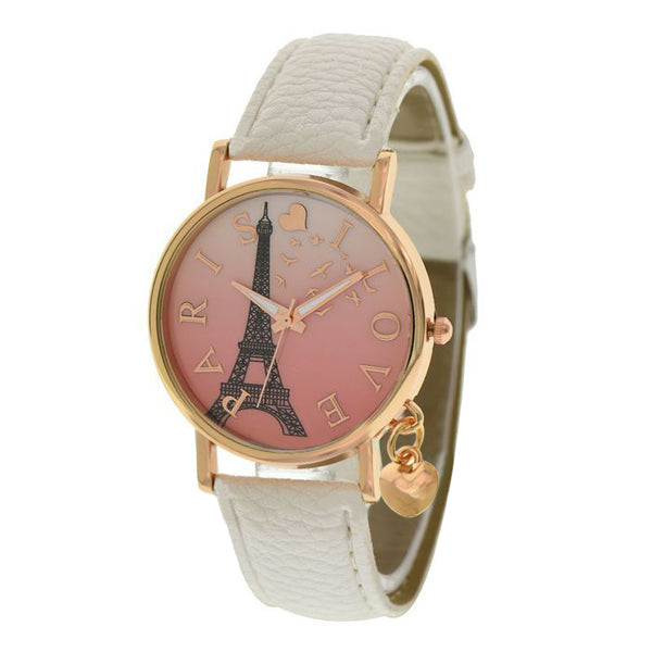 Casual Women Paris Tower PU Leather Peach Heart Pendant Quartz Wrist Watch