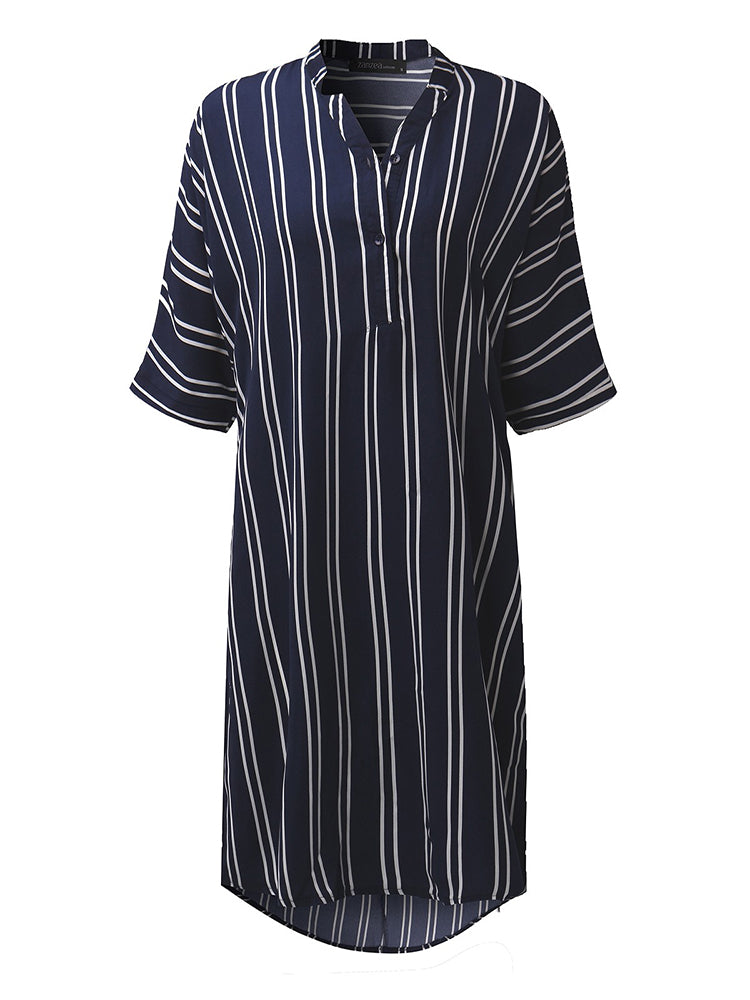 Casual Women Slim Stripe Half Sleeve V-Neck A-Line Shirt Dress