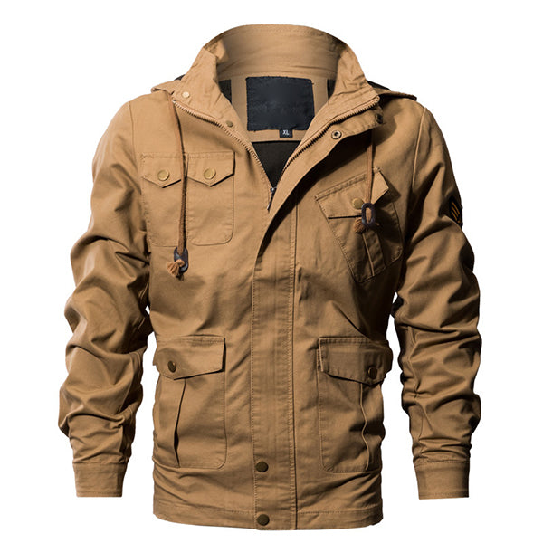 Casual Work Multi Pockets Washed Cotton Hood Military Jacket