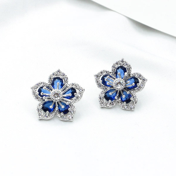 Cherry Blossom High Quality Crystal Stud Earrings Sweet Romance Korean Earrings on Valentine's Day Gift for Girlfriend