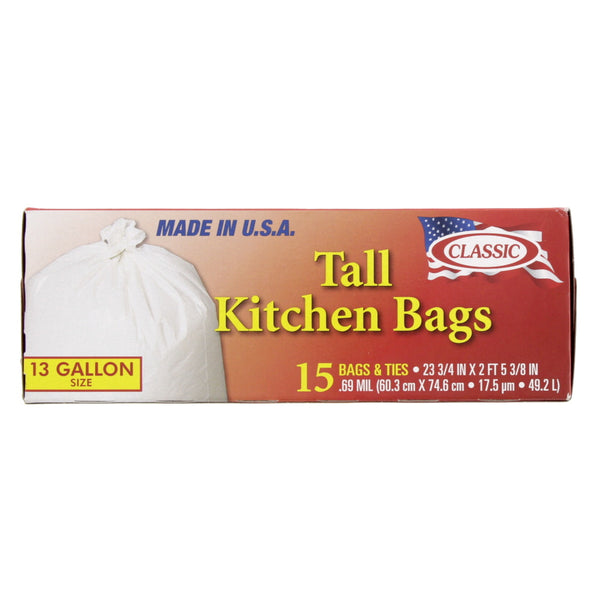 Classic Tall Kitchen Bags 13Gallon 15pcs