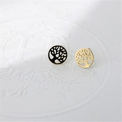 Classic Tiny Tree Of Life Earrings Studs Piercing Round Life Tree Earrings For Women Handmade Hollow Jewelry Gold Silver Color