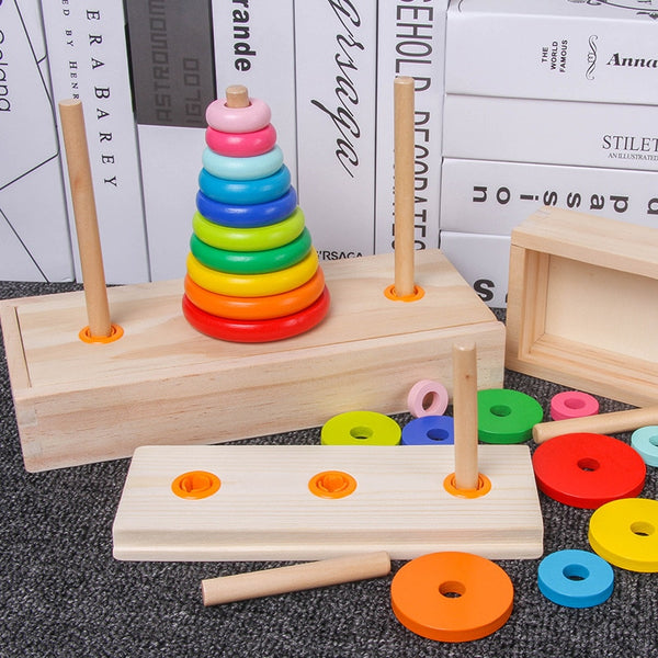 Classic Wooden Puzzle Stack Tower Of Hanoi Kid Mathematical Early Educational Toys Parent-child Interaction Toy With Storage Box