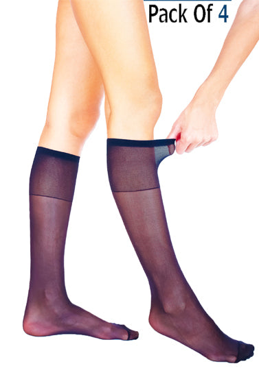 Comfort Plus Extra Elastane Sheer Knee High Hosiery Socks Pk Of 4