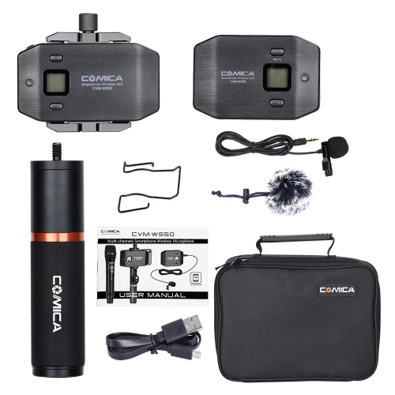 Comica Cvm-Ws50 (B) 6-Uhf Wireless Smart Lavalier Microphone System 197Ft Range with Holder Phone + Grip + Carry B
