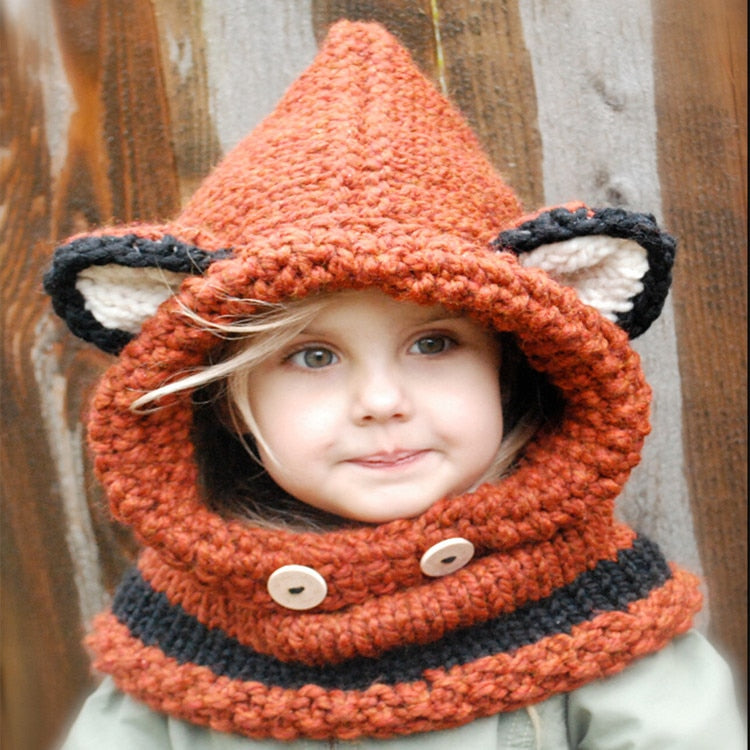 Cute Children Animals Hats Winter New Kids Outdoor Cosplay Wrap Fox Scarf Caps Christmas Keep Warm Handmade Wool Knitted Hat