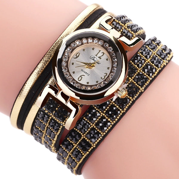 DUOYA Fashion Style Leather Band Bracelet Winding Rhinestones Dial Quartz Moement Ladies Watches