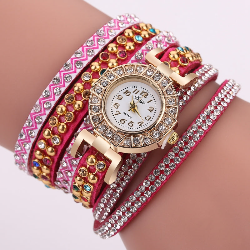 DUOYA Fine Leather Band Winding Crystal Ladies Bracelet Watch Elegant Women Analog Quartz Watches