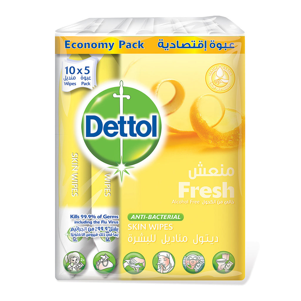 Dettol Skin Wipes Economy Pack Fresh 10pcs X 5 Packs