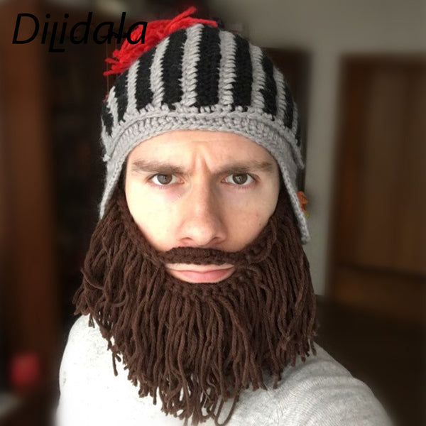 Dilidala Creative Red Crown Roman Knitted Hat Hand-woven Wool Mustache Beard Funny Knight Cap Dome Winter Warm Hat