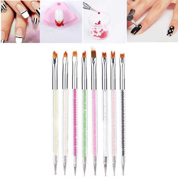 Double Sided Crystal Nail Brush Painting Dotting Gel Tools Professional DIY Manicure Tools