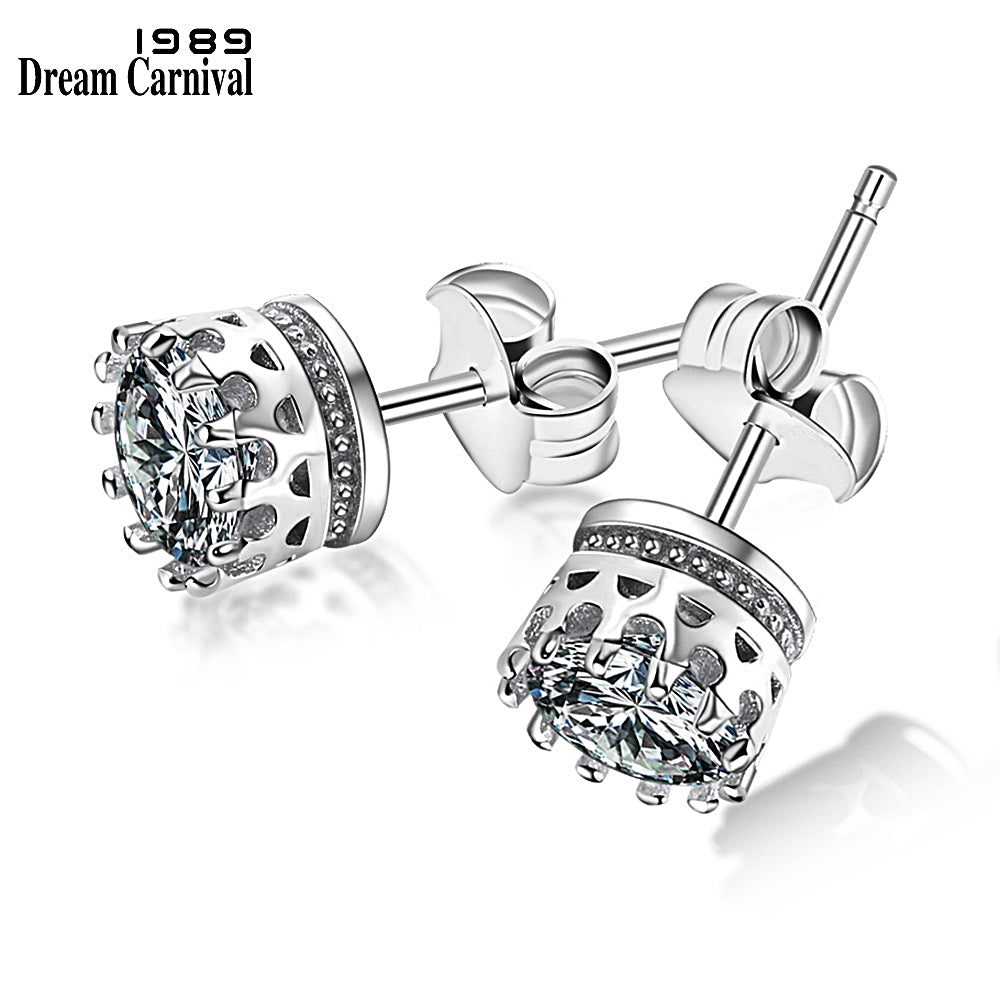 DreamCarnival 1989 Popular Crown Style Stud Earrings for Women High Quality Clear White Zircon Stone Luxury Daily Wear SE07488RB