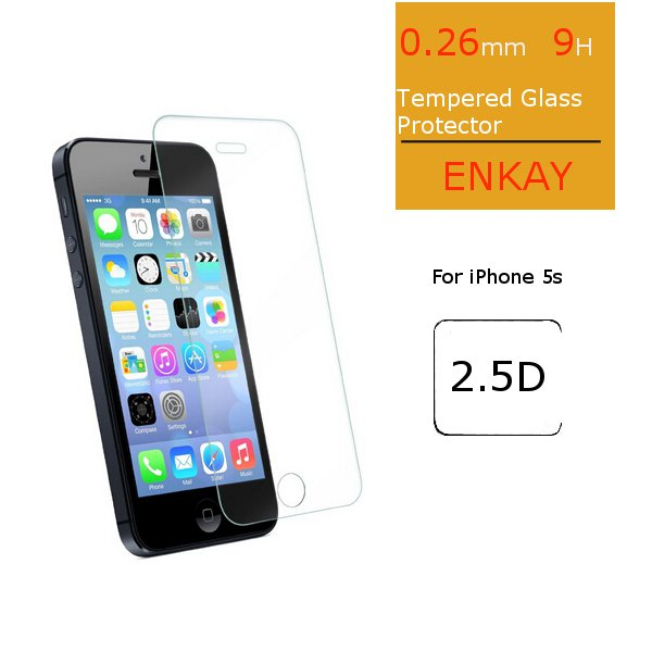 ENKAY Front 0.26m 9H Hardness 2.5D Explosion Proof Tempered Glass Protectors For iPhone 5/5S