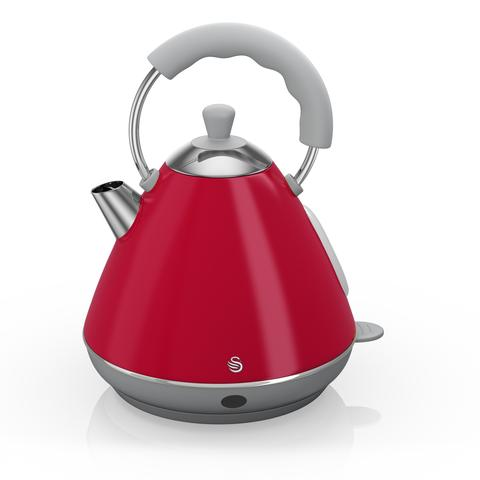 Swan Retro Pyramid Electric Kettle Red