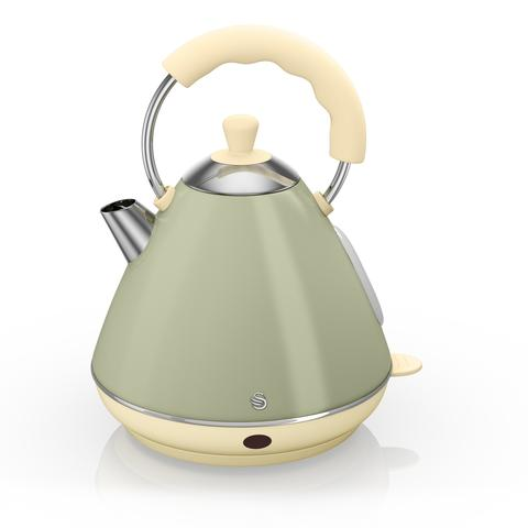 Swan Retro Pyramid Electric Kettle Green