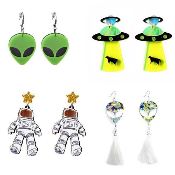Earrings For Women Kelly Earrings Fashion Charm Exaggerated Hip Hop Girls Gift Cute Alien UFO Saucerman