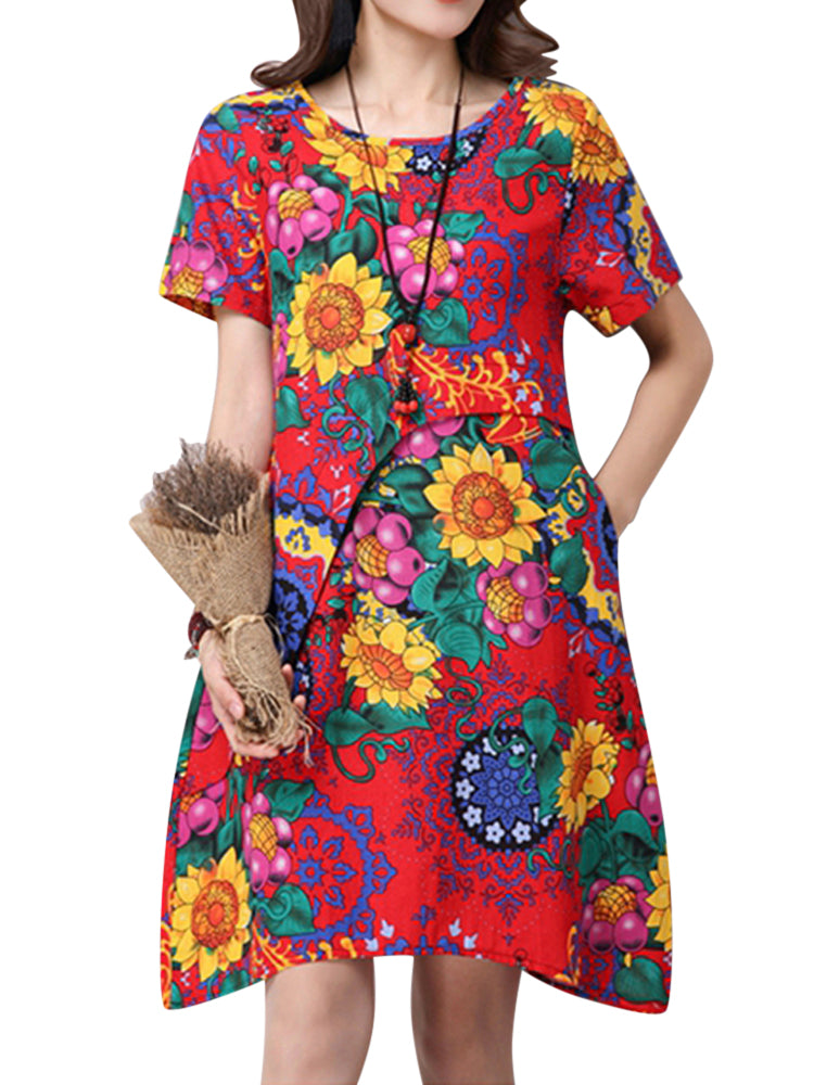 Elegant Flower Printed Women Linen Mini Dress