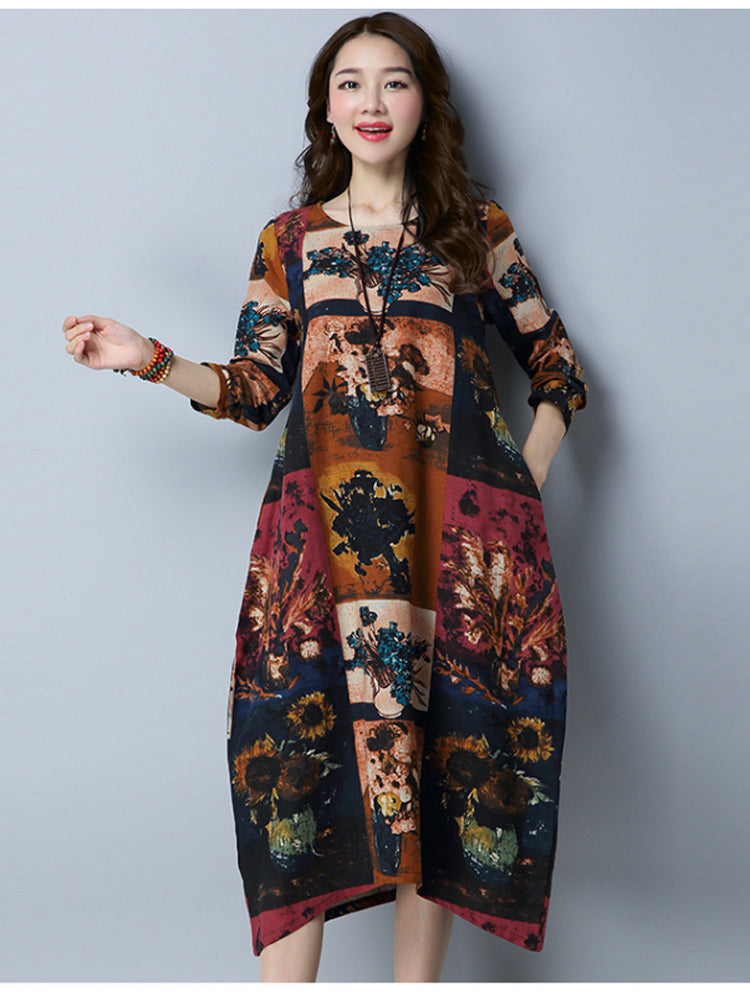 Elegant Women Casual Long Sleeve Cotton Linen Floral Dress
