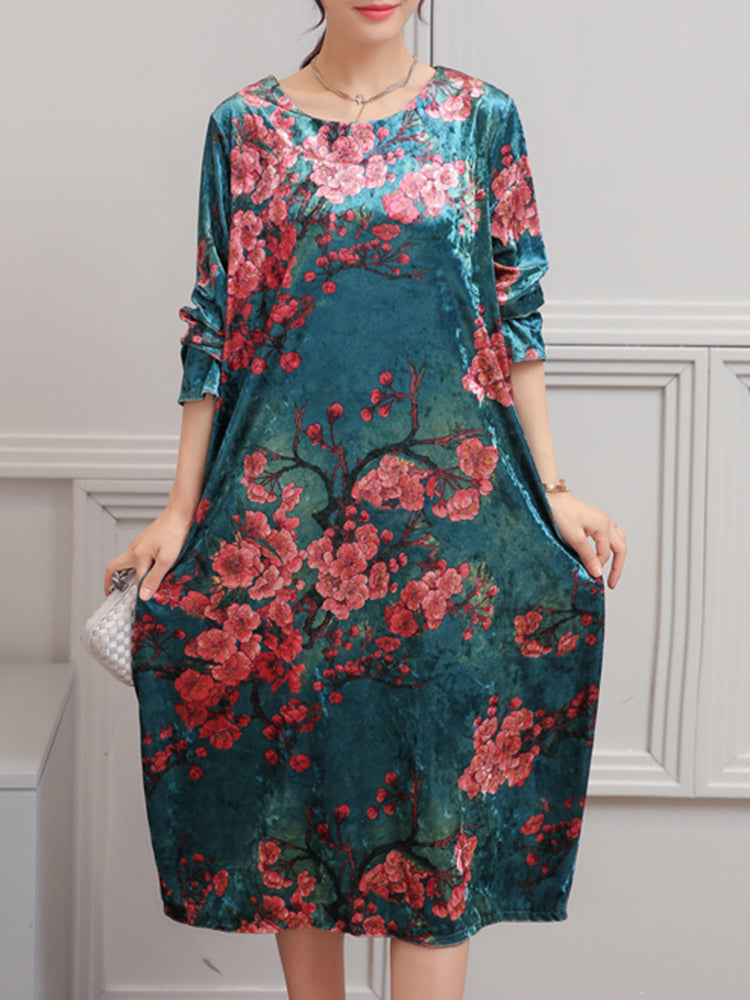 Eleglant Women O-Neck Printed Velet Dresses