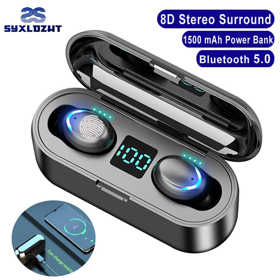 F9-8 Bluetooth Earbuds Wireless Headphones Earphone With Microphone 1500 mAh Charging Box TWS Touch Stereo Handsfree Headset