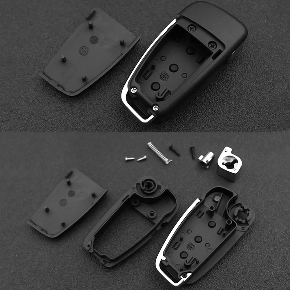 FORAUTO Car Key Shell No Blade Key Fob Case Car Accessories For Audi A2 A3 A4 A6 A6L A8 Q7 TT Folding Remote Flip Case 3 Button