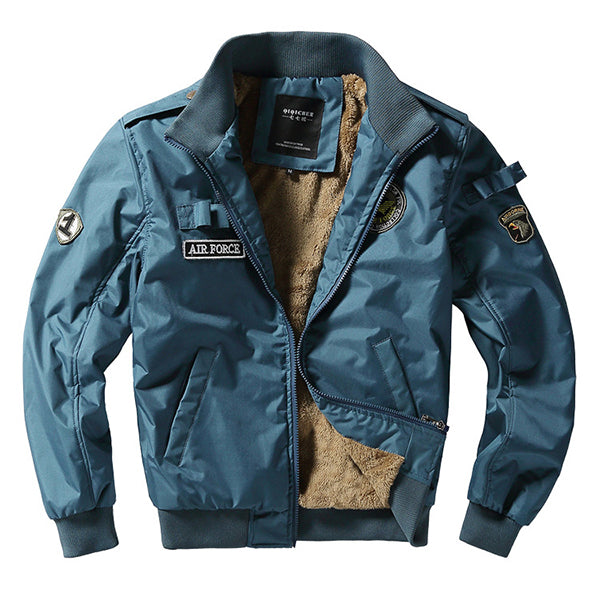 Fashion Bomber Jacket Fleece Thick Warm Pilot Flight Jackets