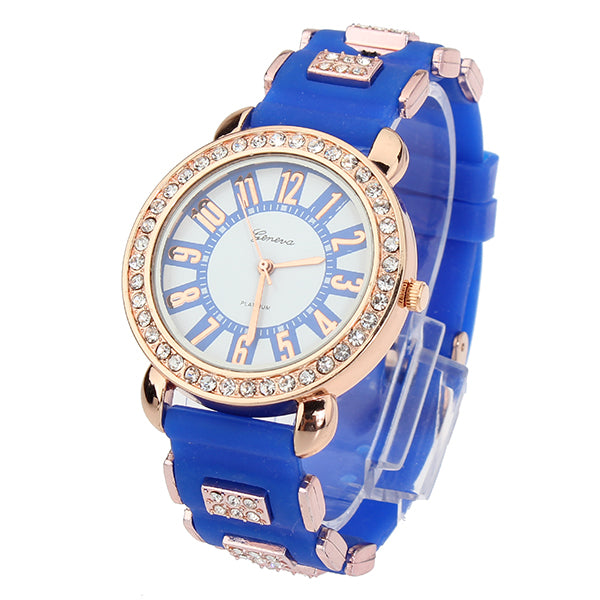 Fashion Elegant Analog Rhinestone Rubber Quartz Women Wrist Watch
