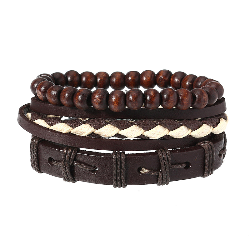 Fashion Multilayer Beaded Chain Punk Woven Bracelet for Men Women Jewelry Gift