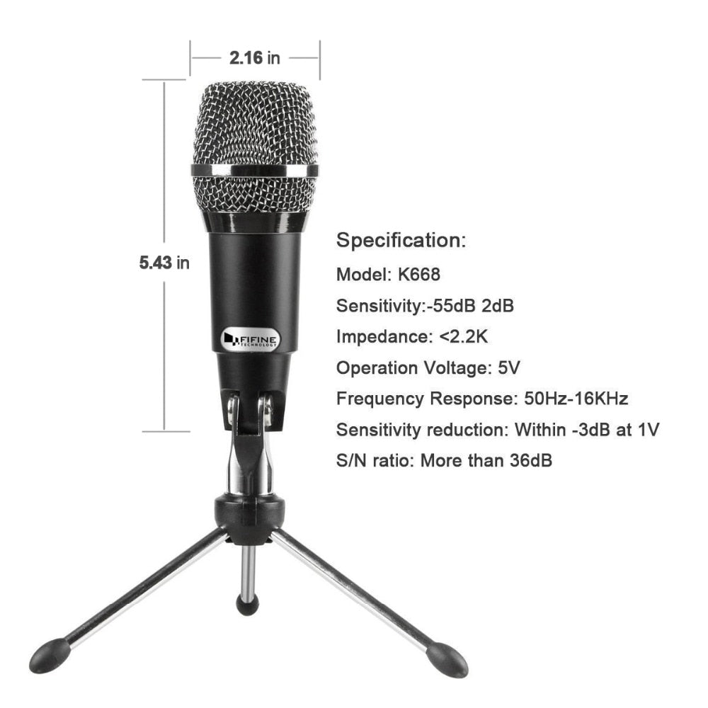 Fifine Plug & Play Home Studio USB Condenser Microphone for Skype، Recordings for YouTube، Google Voice Search، Games (K668)