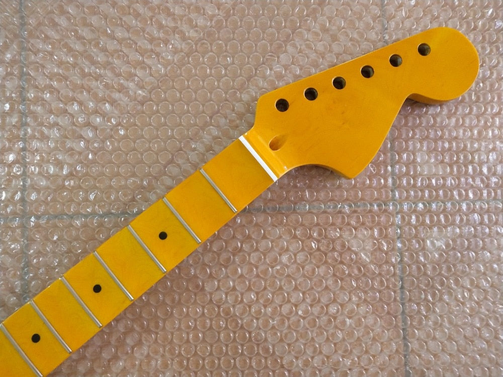 Full scalloped Large headstock Guitar Neck Replacement 24 Fret Maple yellow