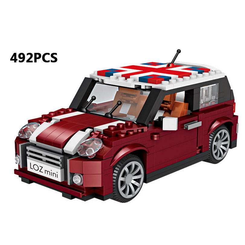 Funny 1:24 scale brand car mini block cooper model building bricks educational assemblage toys collection for kids gifts