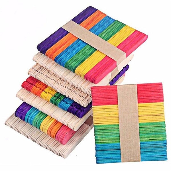 Funny 50pcs Creative DIY Wooden Popsicle Stick Geometric Shape Personalized Jigsaw Art Building Toy Puzzle Blocks