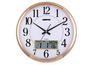 GEEPAS Wall Clock/Taiwan Movmnt/Lcd Display1x12