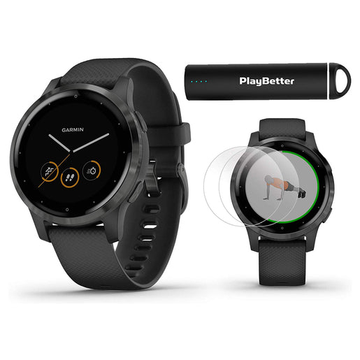 ساعة ذكية من Garmin موديل GPS Vivo Active 4S أسود