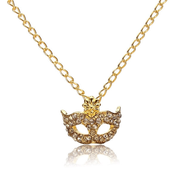 Gold Silver Rhinestone Fox Mask Pendant Necklace For Women