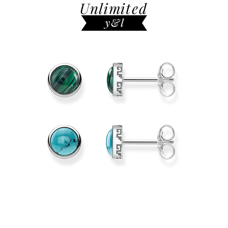 Green/Blue Stone Round Stud Earrings for Women Girls High Quality Earrings Silver Fashion Jewelry Gifts