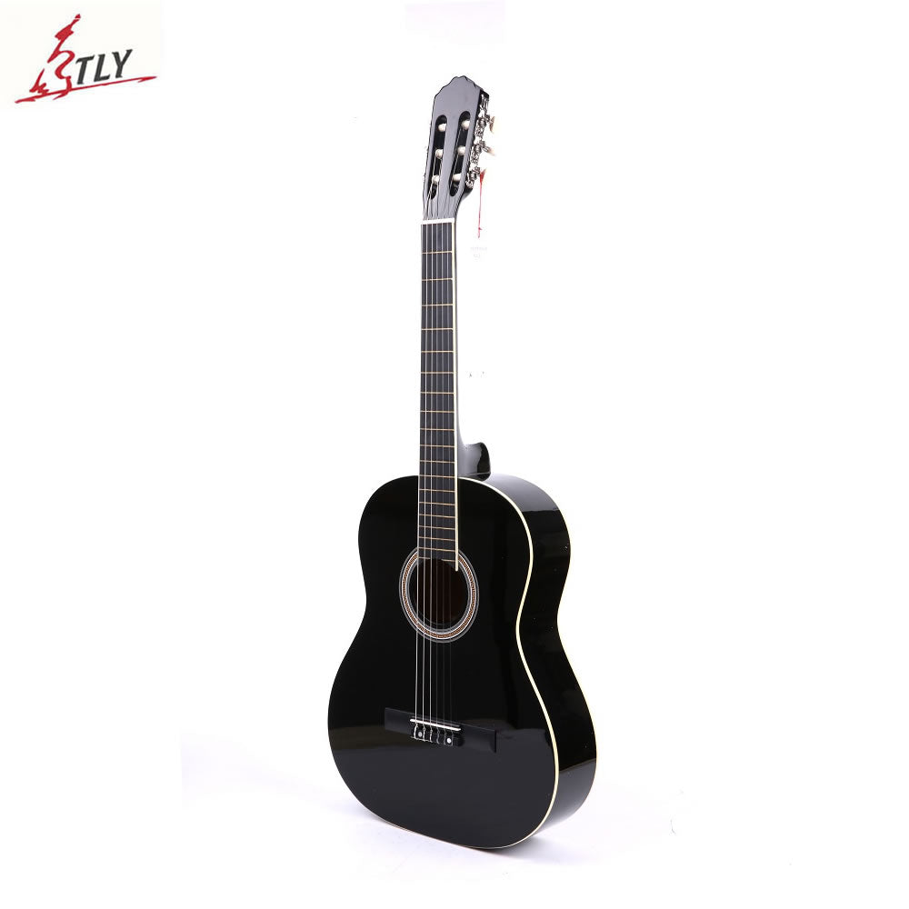 "High Quality 39"" Basswood Classic Guitar White Bordure Black Guitar Guitarra for Beginner Students Music Lovers"