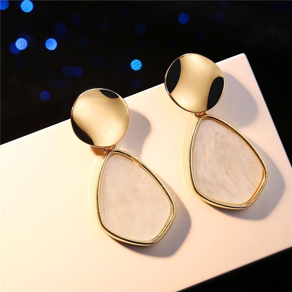 IF YOU Korean Vintage Geometric Dangle Earring For Women Round Heart Gold Color Fashion Drop Earrings brincos Jewelry 2019 New