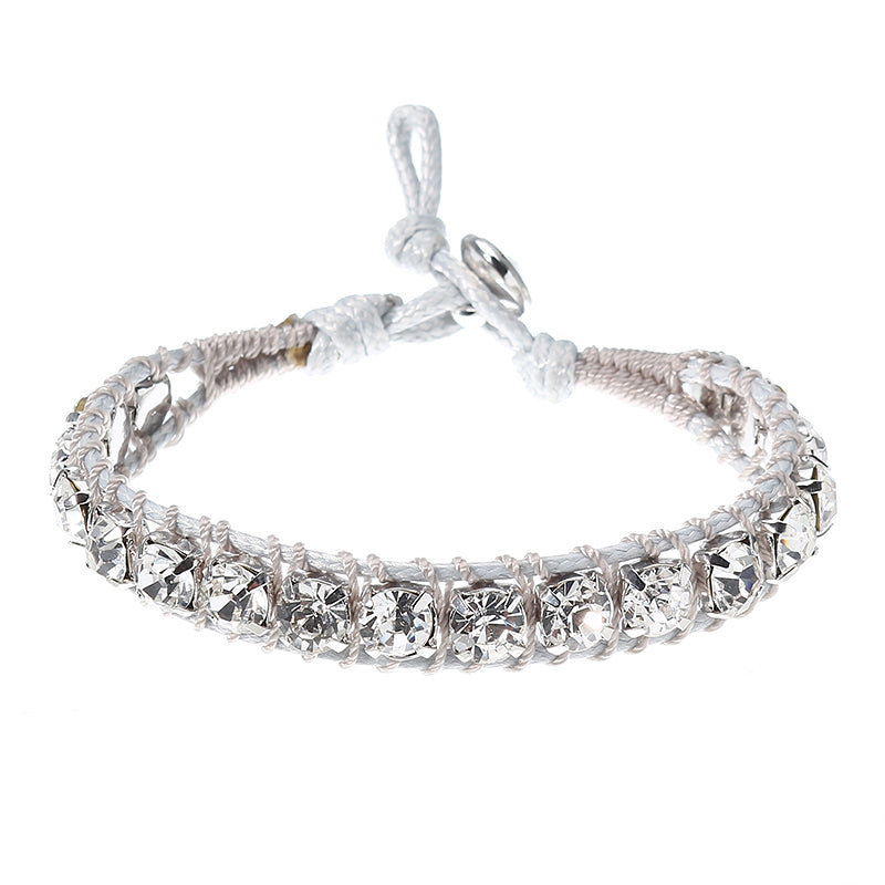 JASSY Women Platinum Plated Gem Crystal Wax Rope Bracelet